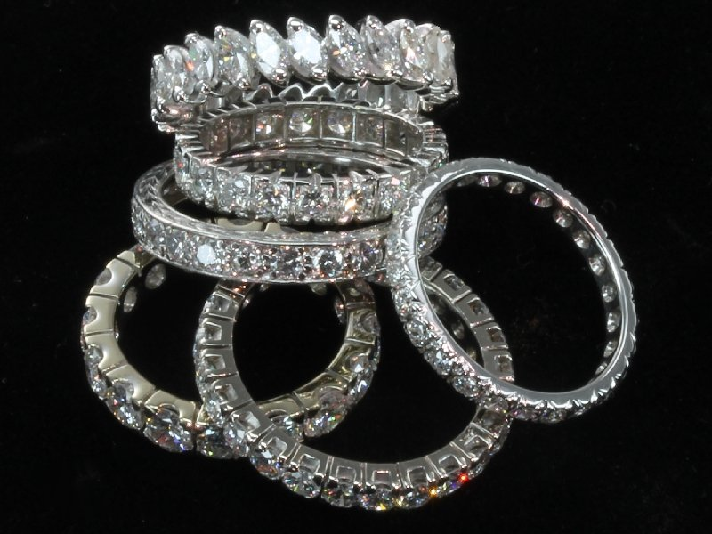 Collection of antique and estate eternity bands from the antique jewelry collection of www.adin.be