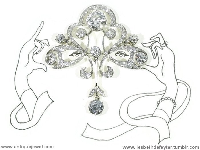 Impressive Art Nouveau Belle Epoque diamond brooch