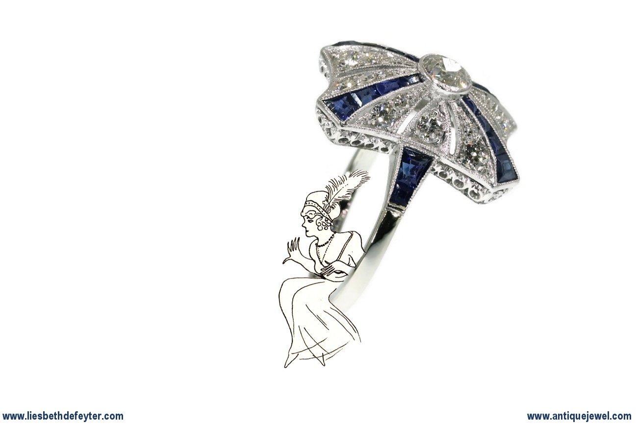 Marvelous Art Deco Belle Epoque antique engagement ring diamonds and sapphires