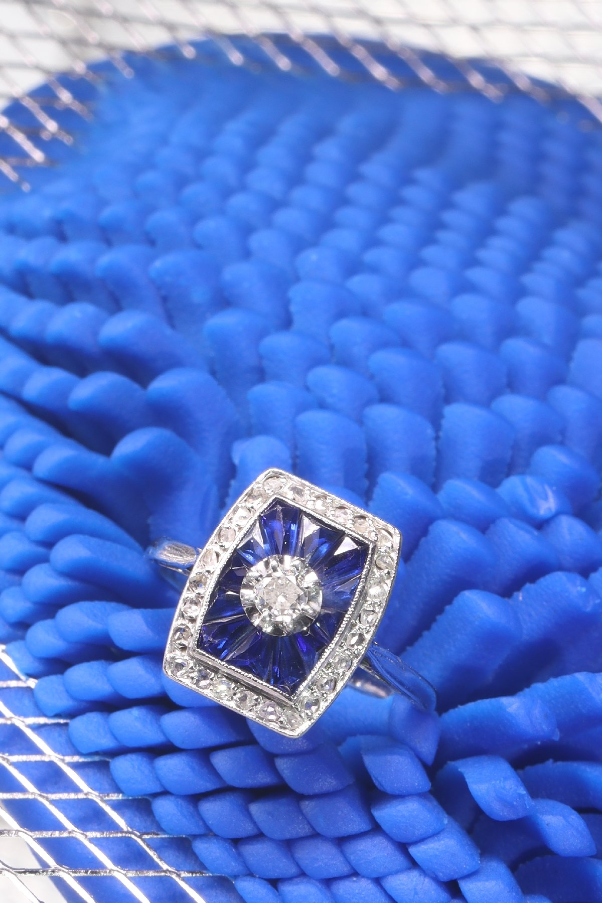 Click the picture to get to see this French Art Deco Vintage diamond and sapphire engagement ring